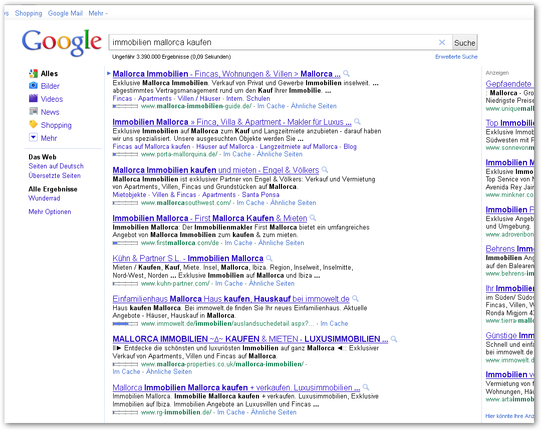 Viesuelle Darstellung der organischen Suchergebnisse zu der Keywordkombination immobilien mallorca kaufen